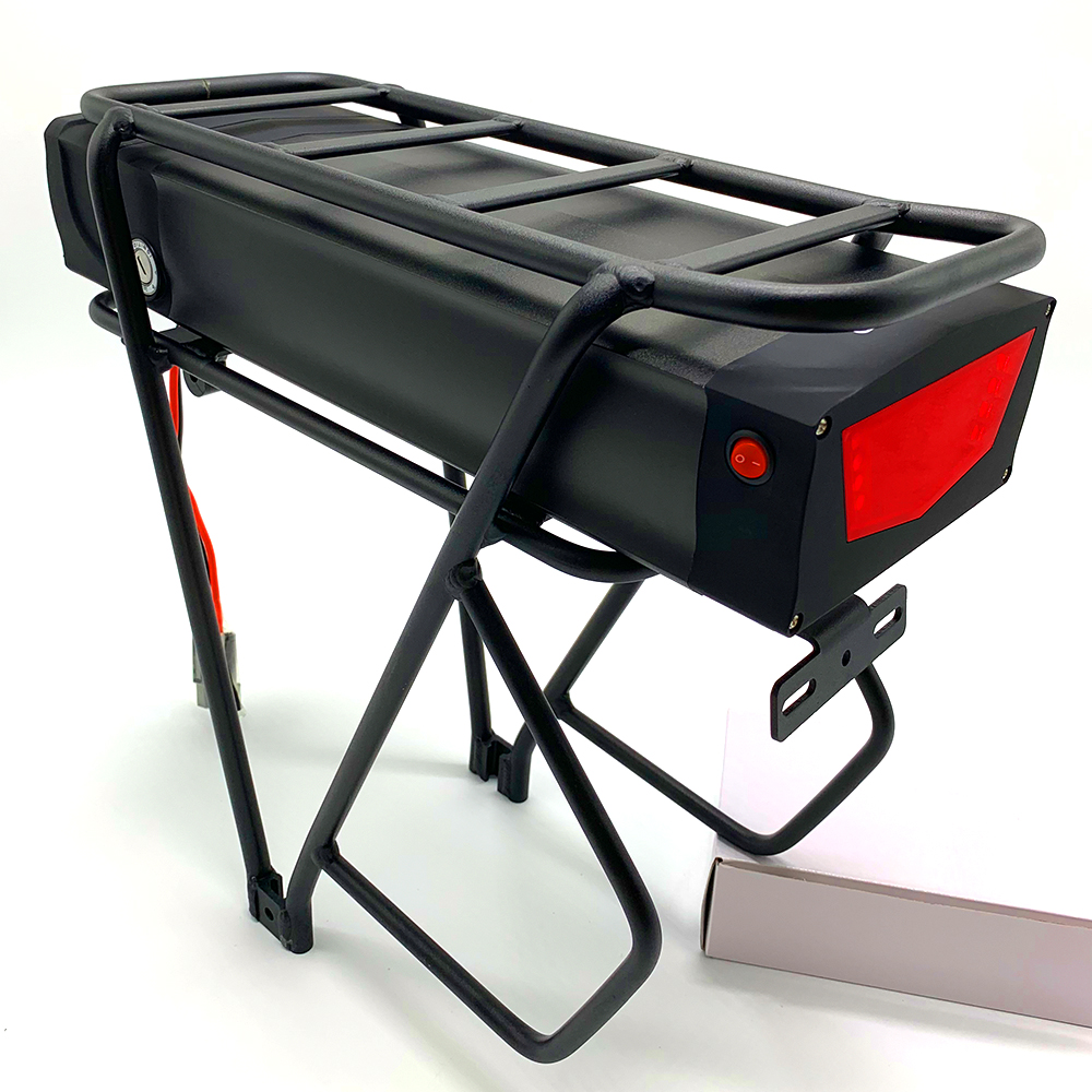 NEW Electric Bicycle 48V 17.5Ah Rear Rack Battery Pack For eBike with Luggage Hanger Taillight USB Port US/EU/UK E Bike Charger 1