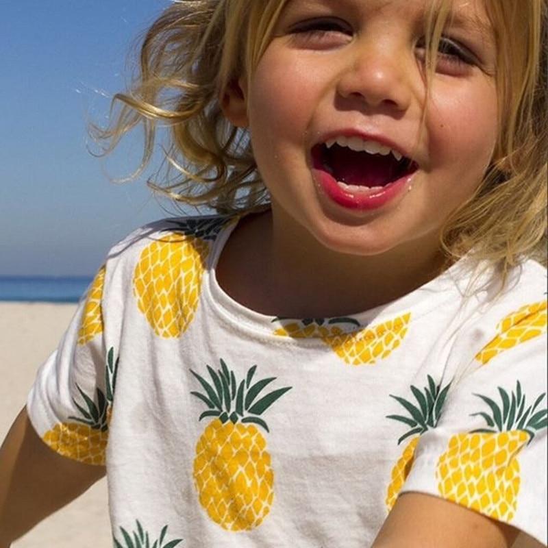Summer Cartoon Baby Girls T Shirt Pineapple Print Unisex