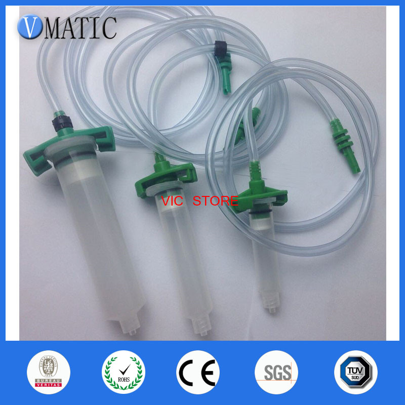 Quality 3pcs/lot Luer Lock Tip Dispenser Syringe Barrel Valve Robot Adapter With Plastic Tube/connector new thickening explosion proof 300cc luer lock tip dispenser syringe barrel w adapter