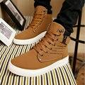 Caliente de la manera de Los Hombres de Martin botas de Moda Masculina Otoño Invierno Botas De Piel De Cuero Para Hombre Casual Top del Alto de Lona Zapatos de Los Hombres