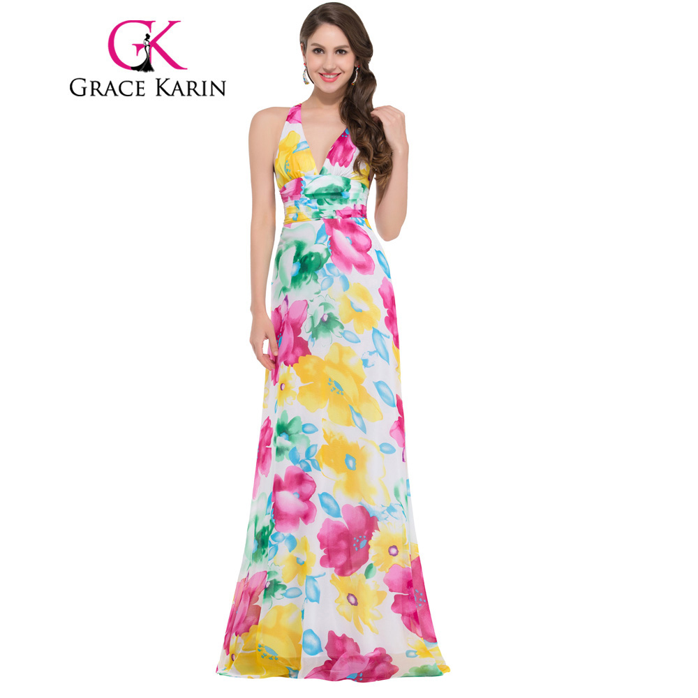 Fast delivery grace karin floral print long evening for Floral print dresses for weddings
