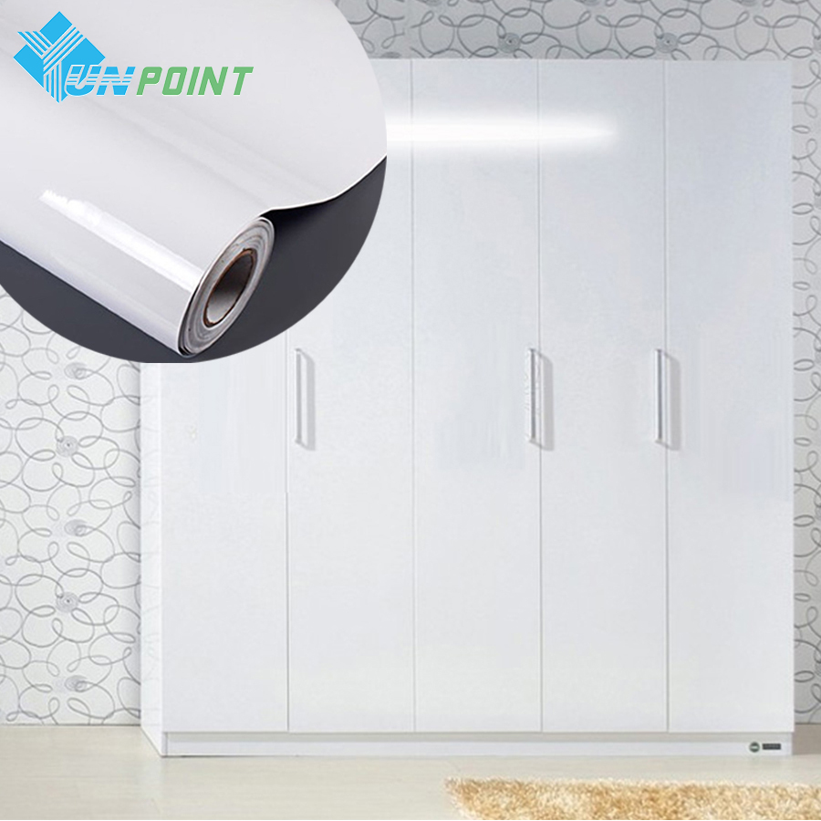 High Glossy White DIY Decorative Film Matte Self-adhesive Wallpaper Kitchen Cabinet Old Furniture Renovation Waterproof Stickers