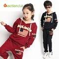 Crianças crianças outono inverno moda conjunto de roupas menina roupas esportivas bandeira padrão kid conjunto de roupas conjunto esportes com calças KS262