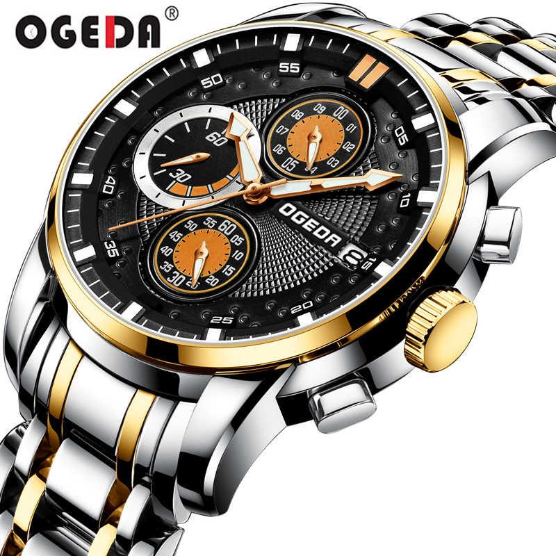 OGEDA Men Watch Chronograph Sport Mens Watches Top Brand Luxury Waterproof Full Steel Business Quartz Clock Relogio Masculino