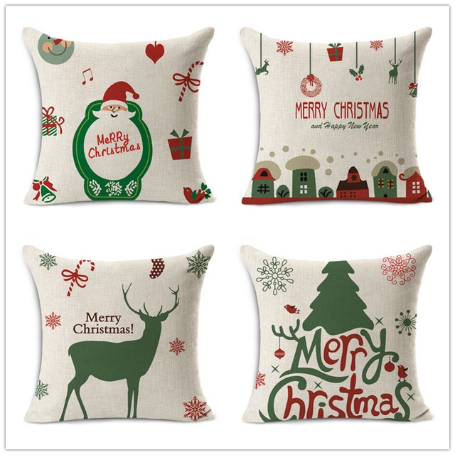 Clearance Sale Mery Christmas Decorative Linen Cushion Covers Simple Decorative Pillows Clearance Sale