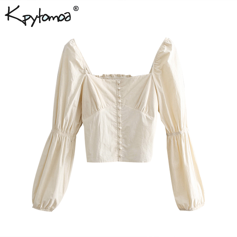 Vintage Chic Buttons Short Tops Women Blouses 2019 Fashion Square Collar Puff Sleeve Slim Fit Ladies Shirts Casual Blusas Mujer