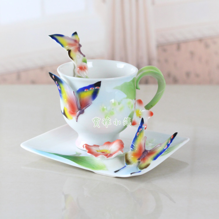 Butterfly Coffee Cup Colored enamel porcelain Cups with saucers and teaspoon of holiday Get married creative gift Free shipping