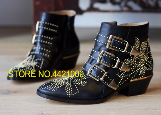 Autumn Motorcycle Boots Black Studded Susanna Shoes Women Luxury Pointed Toe Square Heel Buckled Combat Booties ShoesAutumn Motorcycle Boots Black Studded Susanna Shoes Women Luxury Pointed Toe Square Heel Buckled Combat Booties Shoes