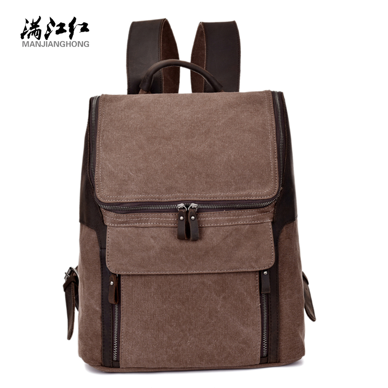ФОТО Sky fantasy fashion canvas with leather preppy style unisex casual daily backpacks vogue hipster vintage school bag men rucksack