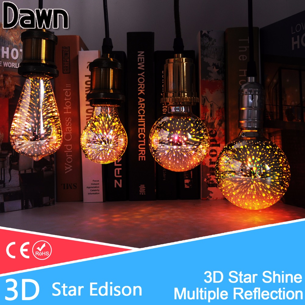 LED Lamp Light Bulb E27 3D Decoration Bulb 110V 220V 240V Holiday Lights A60 ST64 G80 G95 Novelty Lamp Christmas Decoration 3d fireworks led bulb light 220v e27 a60 st64 g80 g95 g125 novelty decoration lamp christmas lighting