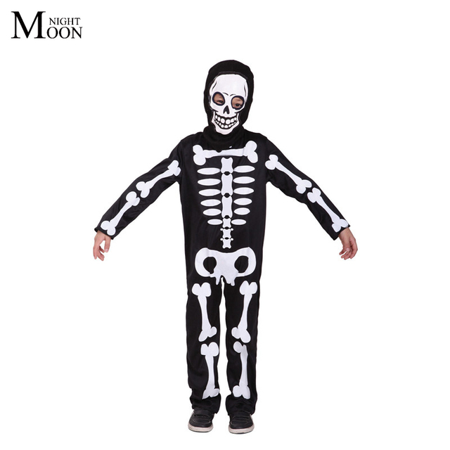 moonight clothes party ball halloween costume for kids skull skeleton costume ghost monster clothing with face