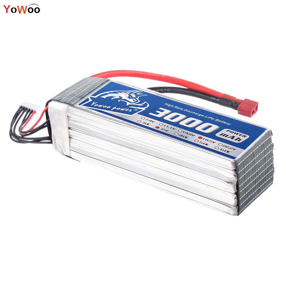 YOWOO 18.5v Lipo 5s Bateria 3000mah 35c MAX 70c RC Battery Drone AKKU For Helicopter Quadcopter Airplane FPV UAV Car Boat fpv x uav talon uav 1720mm fpv plane gray white version flying glider epo modle rc model airplane