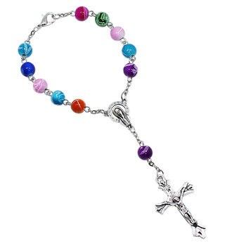 NingXiang 12pcslot 8MM Colorful Acrylic Beads Catholic Rosary Bracelet Women Religious Jesus Crucifix Bracelet Free Shipping bead