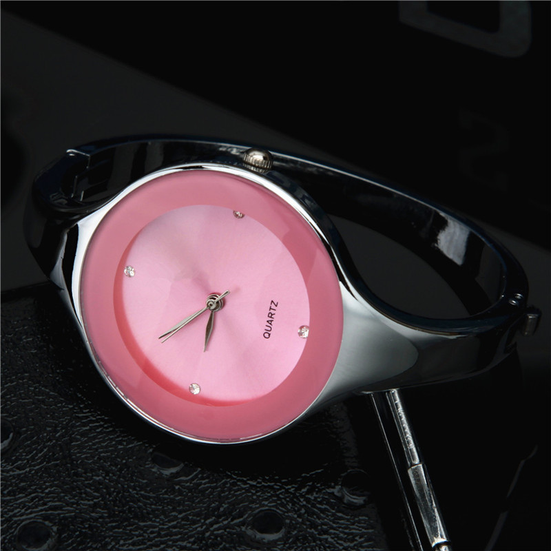 New Pink Stainless Steel Female Bracelet Watches Elegant Women Business Clocks Rhinestones Thin Band Saats Hot Orologio Uomo