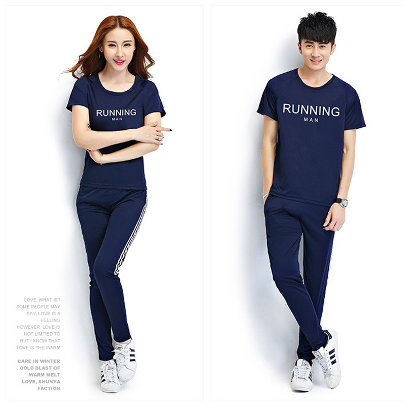 ФОТО Summer couple short - sleeved T - shirt trousers running suit school uniforms group sports training