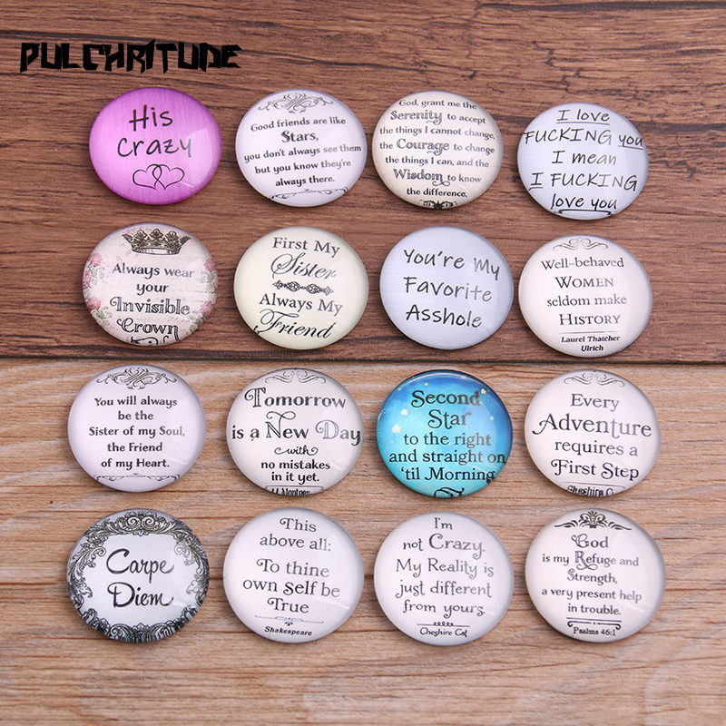 PULCHRITUDE Random 6pcs Mix English Letters Pattern Round Glass Cabochon 20mm 25mm Dome Flat Back DIY Jewelry Finding T6721