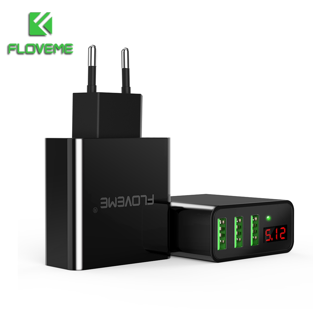 LED Display 3 USB Charger, FLOVEME Universal Mobile Phone USB Charger Fast Charging Wall Charger For iPhone Samsung Max 2.4A