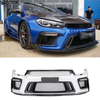 Carbon fiber + FRP Wide Car body kit Unpainted front Rear bumper Side skirts for Volkswagen VW Scirocco ASPEC 09-15