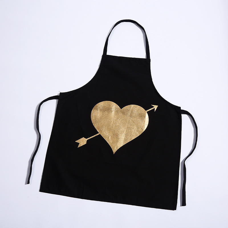 Image 3 - 1Pcs Bronzing love Pattern Cotton Apron Adult Bibs Home Cooking Baking Coffee Shop Cleaning Aprons Kitchen Accessories 46137-in Aprons from Home & Garden