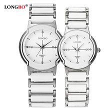 2018 New Luxury Brand LONGBO Mens Women Ceramic Watch Fashion Geneva Couple Watches Male Quartz Wrist watches relojes mujer 8493(China)