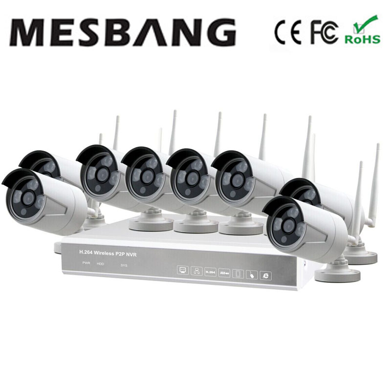 Mesbang  easy to installtion 720P 8ch   wifi security camera kit  free shipping by DHL mesbang 720p 4ch wireless ip camera nvr kit one key to set up easy installation free shipping fast