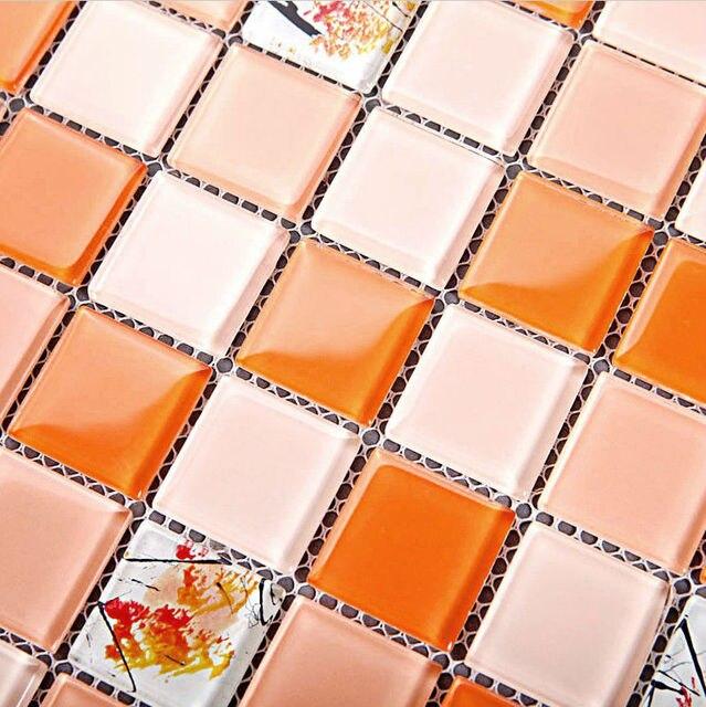 Orange Glas Mosaik Fliesen Blätter Kristall Backsplash Küche Wandfliese  Aufkleber Mosaiken Muster Design Bad Bodenfliesen