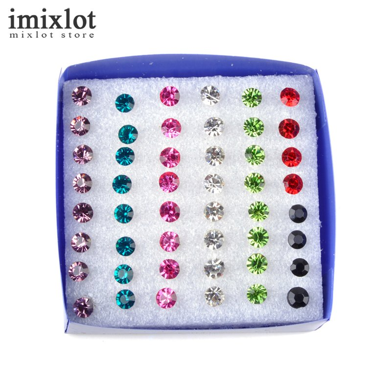 Imixlot 2pack/set(48pairs) Korean Small Jewelry Multicolor Round Rhinestone Crystal Plastic Stud Earrings For Women Girls
