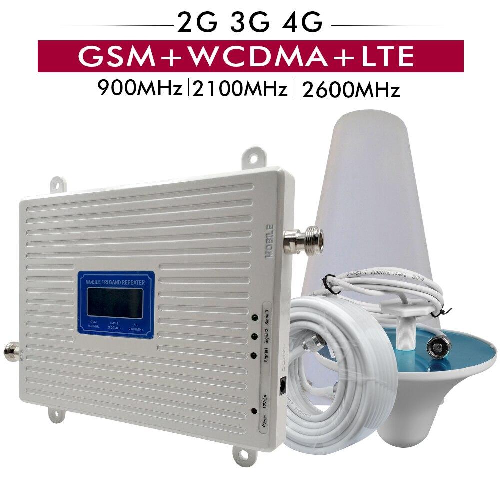 2G 3G 4G réseau GSM 900 + UMTS/WCDMA 2100 + FDD LTE 2600 répéteur de Signal de téléphone portable 900 2100 2600 amplificateur de Booster de Signal à trois bandes