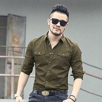 2017 New Spring Double Pocket Mens Fashion Shirt Brand Men Long Sleeved Solid Shirts Slim Fit