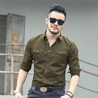 2017 New Spring Double Pocket Mens Fashion Shirt Brand Men Long Sleeved Solid Shirts Slim Fit