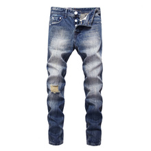 Italian Vintage Fashion Men Jeans Blue Color White Wash Ripped Jeans Men Classical Denim Buttons Pants Streetwear Hip Hop Jeans цена 2017
