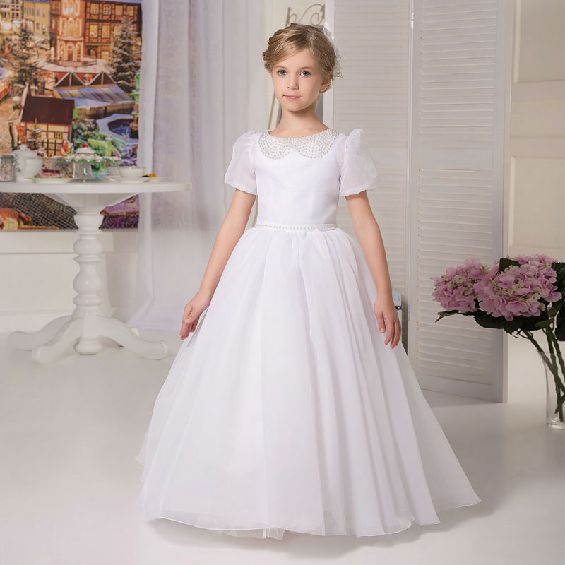 New Flower Girls Dresses For Wedding Gowns Satin Glitz Pageant Dresses for Little Girls A-Line Mother Daughter Dresses