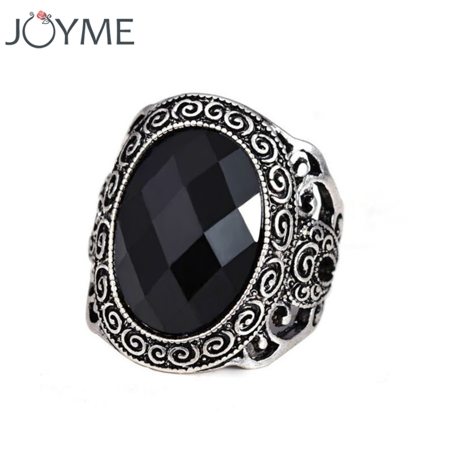Joyme Europe and America Bohemian StyleTibetan Silver Antique Man Black Crystal Ring Fine Jewelry Factory Price Girl anillo
