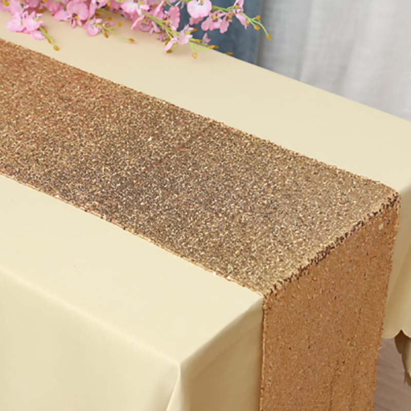 Image 3 - Sequin Table Runner Rose Gold/Silver/Navy/Pink/Red Color Luxury Style Wholesale For Wedding Hotel Dinner Party Decoration-in Table Runners from Home & Garden