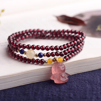 Wholesale Fine Wine Red Garnet Natural Stone Bracelets Beads With Strawberry Crystal Pendant Bracelet For Women