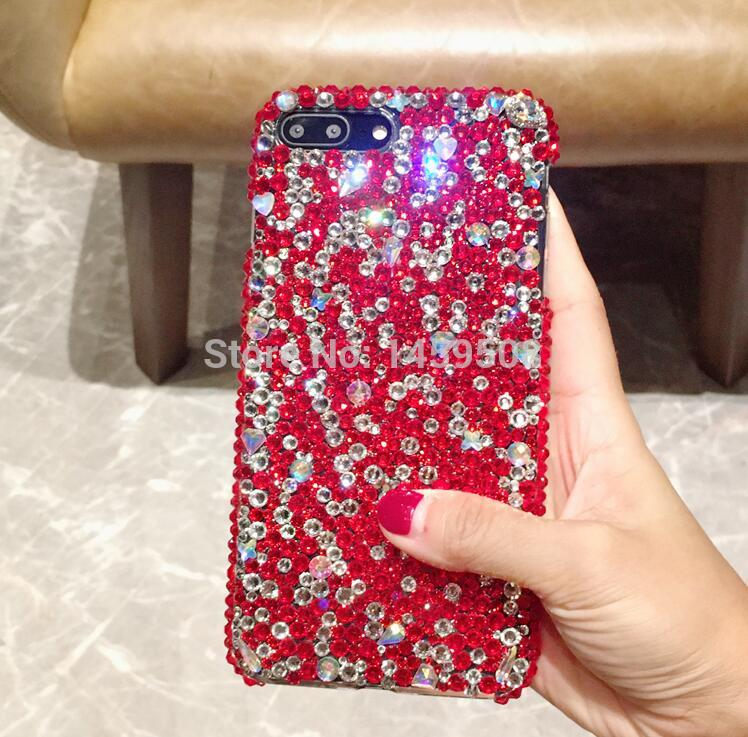 For iPhone X XS Max XR 6 6S 7 8 9 Plus 5 5s SE 4 4s Handmade Rhinestone Case Full Red Diamond Cover