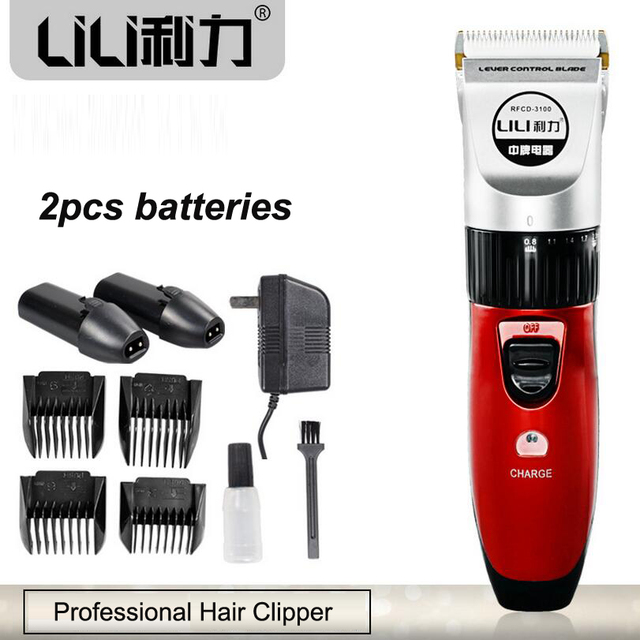 Professional Hair Clipper Titanium Ceramic Blade Electric Rechargeable Hair Trimmer for Men Baby 220V 2 batteries