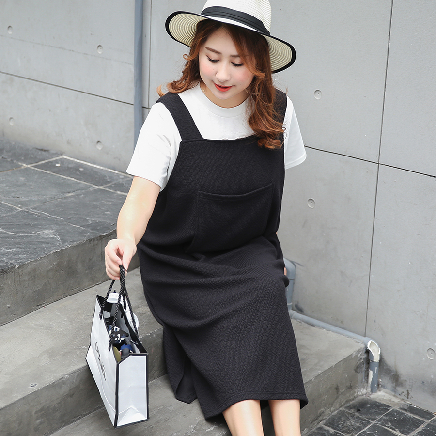 New fashion Korean fashion 280 pounds of fat mm braces fat sister big size women's new suspenders dress 359