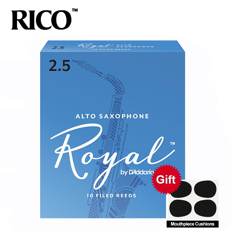 RICO Royal Alto Sax Reeds / Saxophone Alto Eb Reeds Strength 2.5#, 3# Blue Box Of 10 With Mouthpiece Cushion