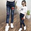 Adolescente Niños Niñas Pantalones de Invierno Otoño Moda Labios Patrón Jeans Para Niños Niñas Pantalones Trouses Casuales Pantalones Vaqueros de los Bebés 6-14 T