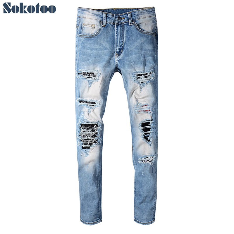 Men's bandanna printed patchwork ripped blue stretch   jeans   Plus size slim skinny plaid patch distressed denim pants
