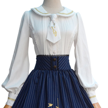 2019 ロリータブラウス甘い白長袖刺繍女性のシャツとネクタイ