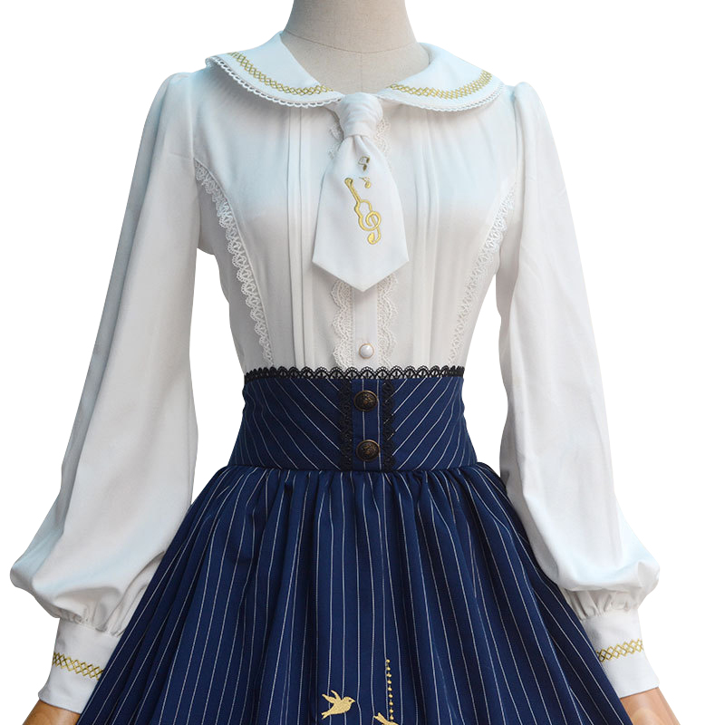 2018 New Japanese Style Lolita Blouse Sweet White Long Sleeve Embroidered Women's Shirt with Necktie