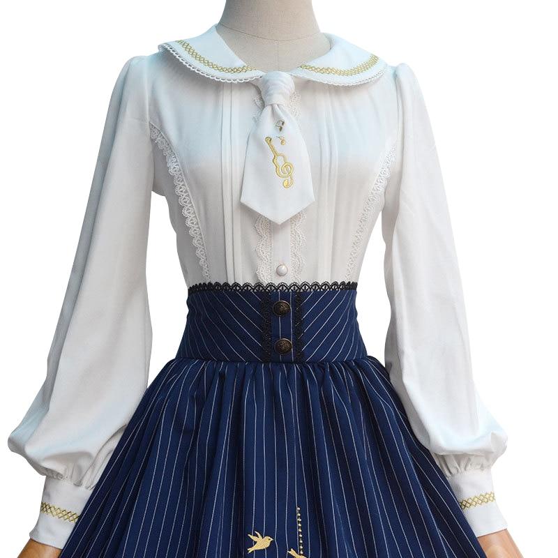 2019 Lolita Bluzka Słodka biała haftowana koszula damska z długim - Ubrania Damskie