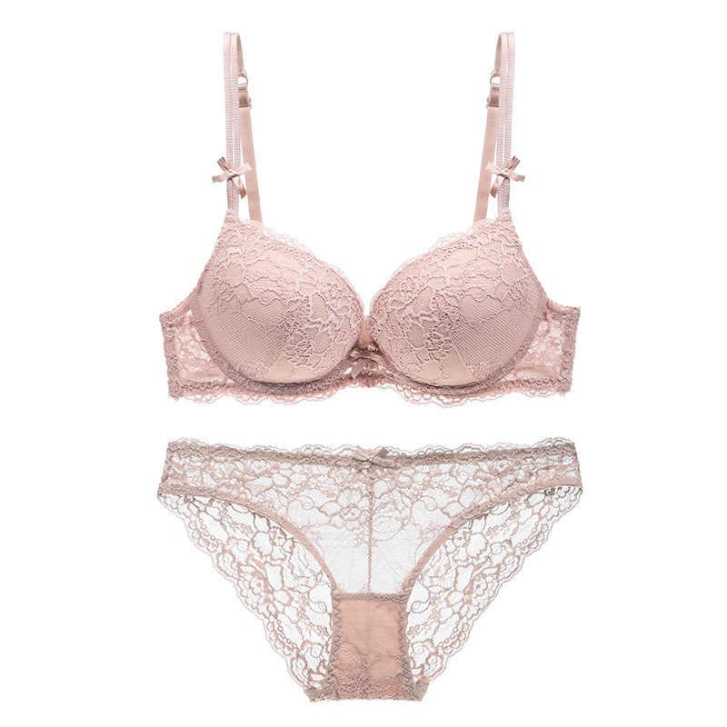 7726e06f9a6b ... Women sexy Lace lingerie Push Up padding Cup bra and panties set Lounge Bra  and Panties ...
