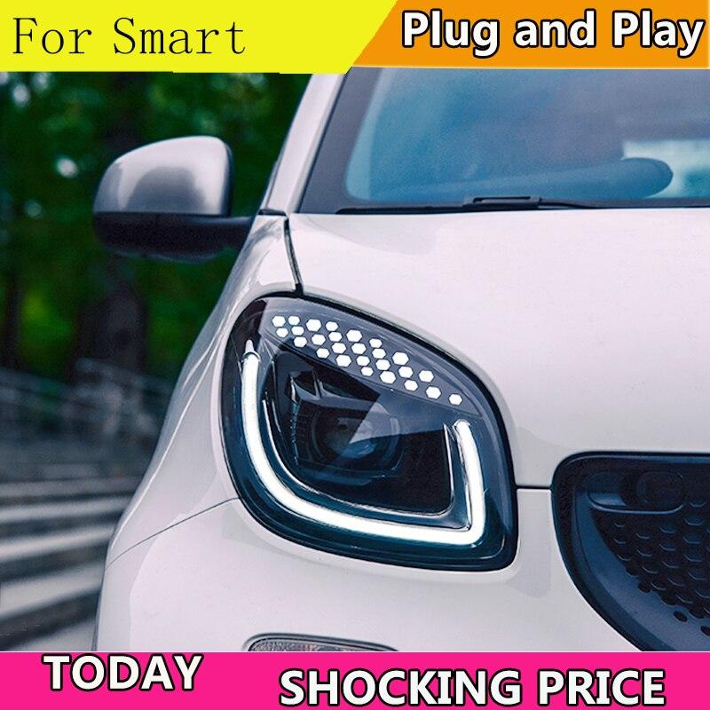 Автомобильный Стайлинг фара для умных фар 2015 2018 Смарт для двух светодиодный ных светодиодные дневные ходовые огни на передних фарах Hid Bi Xenon