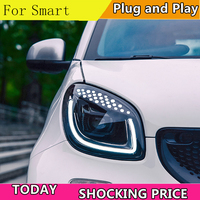 Car Styling Head Lamp for Smart Headlights 2015 2018 Smart for Two LED Headlight LED DRL Hid Bi Xenon Auto Accessories