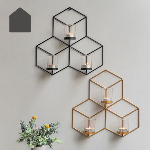 DIY Wall Mounted 3D Geometric Candlestick Tea Light Candle Holder Metal Candlestick Home Decor NEW 2