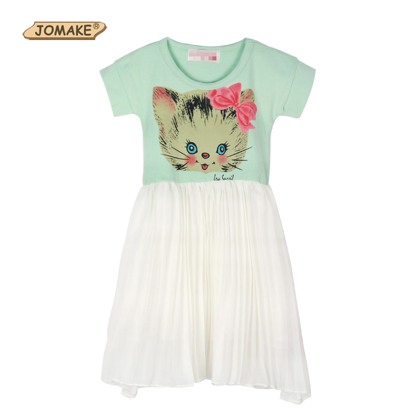Baby Girl Dress 2017 Summer Style Cartoon Cat Short Sleeve Patch Children Dresses For Girls Kids Clothes Toddler Girl Clothing free shipping 2016 summer kids girl dress princess dresses cartoon the black cat costume children toddler clothes top sale