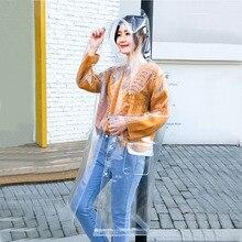الكبار شفافة إيفا طويلة النساء الرجال موضة معطف واق من المطر جاكيتات فتاة الموضة واضح مقنعين كتيمة في الهواء الطلق السفر معاطف المطر